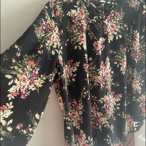 Floral long bell sleeve blouse. Worn once.